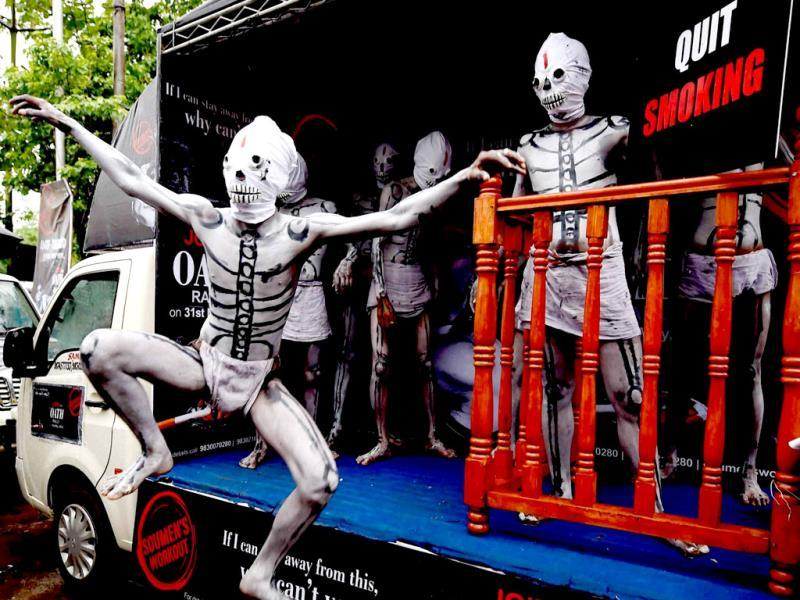 People dressed like skeleton, participate in a campaign on World No Tobacco day, in Kolkata. (PTI Photo)