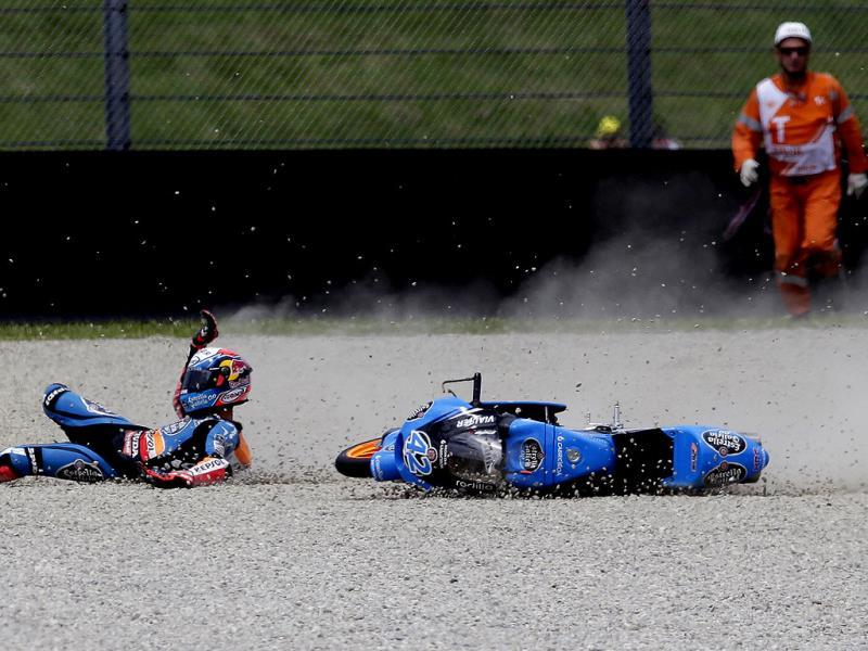 Honda Moto3 rider Alex Rins of Spain crashes during the qualifying session for the Italian Grand Prix in Mugello circuit in central Italy. (Reuters Photo)
