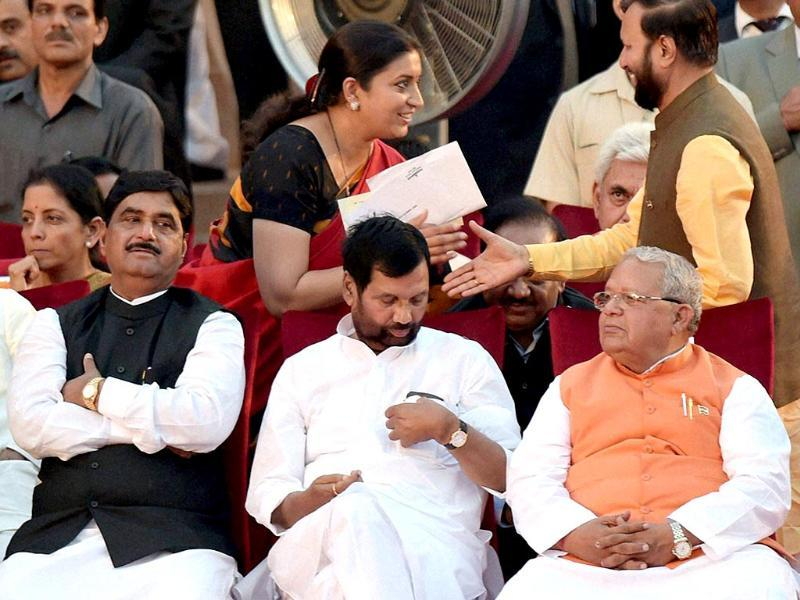File Photo: Union ministers Kalraj Mishra, Ramvilas Paswan and Gopinath Munde at the swearing-in ceremony of the NDA government on May 26. Munde died on June 3 after a car crash. (PTI Photo)