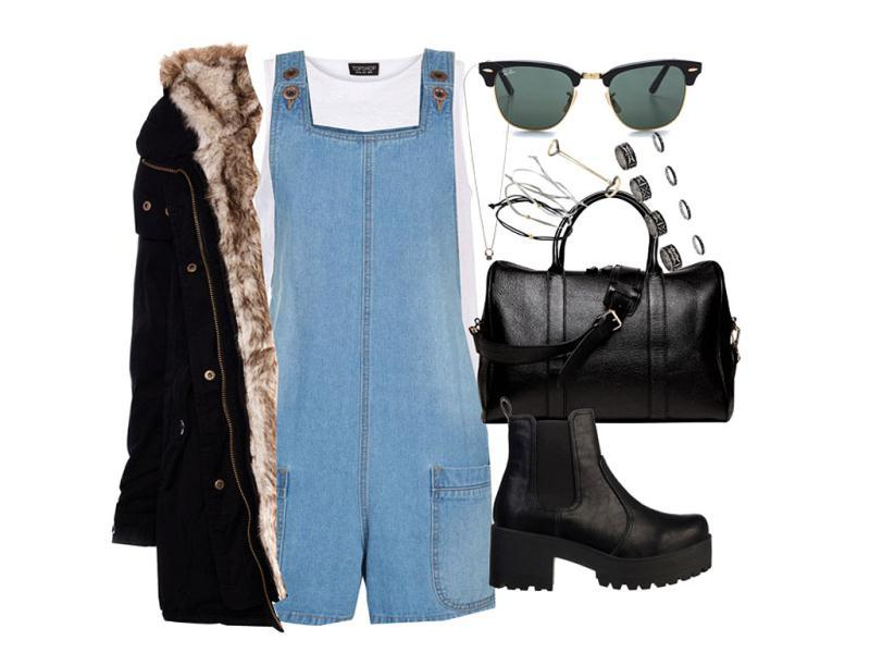Fashion marchNew Look playsuit, Topshop top, rings, bracelets, and necklace, Pull & Bear parka, boots and bag via theiconic.com.au, Ray-Ban sunglasses