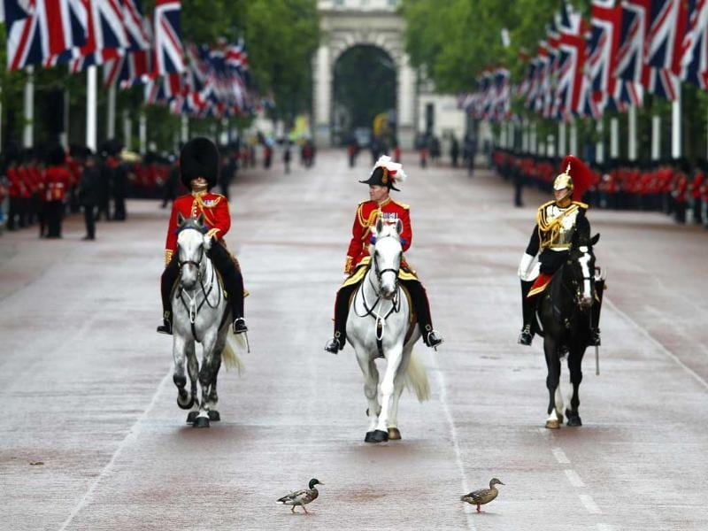 Two ducks cross the Mall in front of members of the guards and household cavalry during pageantry for the state opening of Parliament in central London. (Reuters Photos)