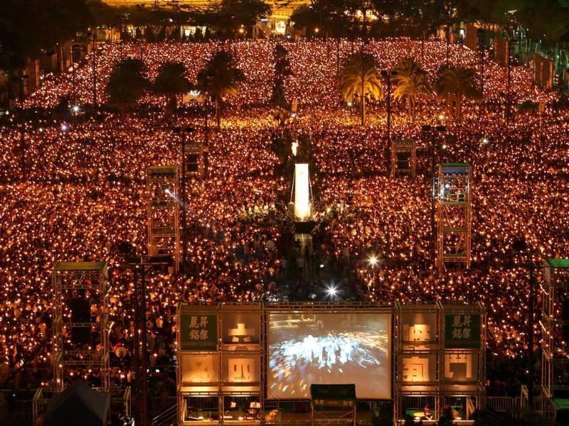 Tens of thousands of people attend a candlelight vigil at Victoria Park in Hong Kong, to mark the 25th anniversary of the June 4th Chinese military crackdown on the pro-democracy movement in Beijing. (AP Photo)
