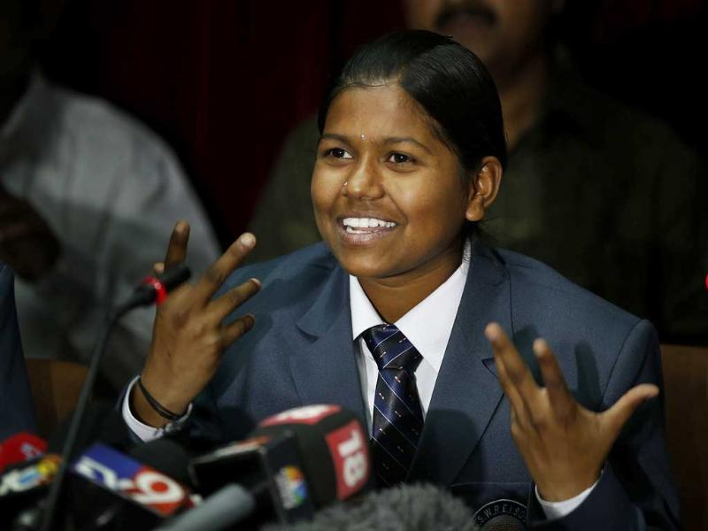 Malavath Poorna, from Andhra Pradesh addresses a press conference in New Delhi, India. (AP Photo)