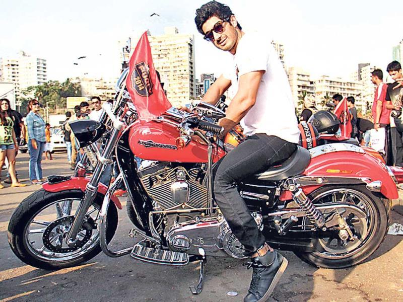 Mohit Marwah posed in sunglasses as he rode the mean machine with attitude.