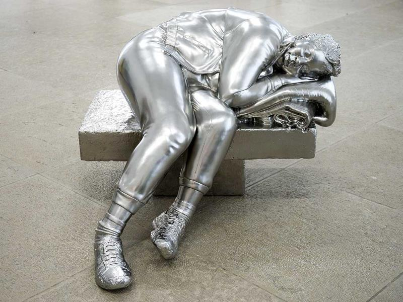 The sculpture 'Sleeping Woman' (2012) by US artist Charles Ray is on display at the Kunstmuseum (art museum) in Basel, Switzerland, during preparations for the exhibition 'Charles Ray: Sculptures 1997-2014' that will run 15 from June to 28 September. (EPA Photo)