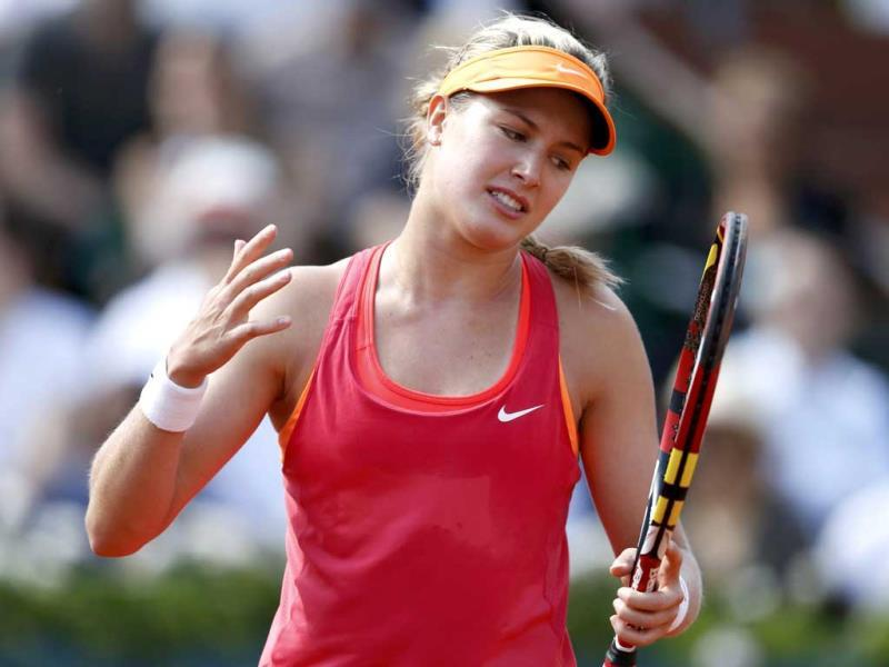 Eugenie Bouchard of Canada reacts during her women's semi-final match against Maria Sharapova of Russia at the French Open at Roland Garros in Paris.(Reuters Photo)