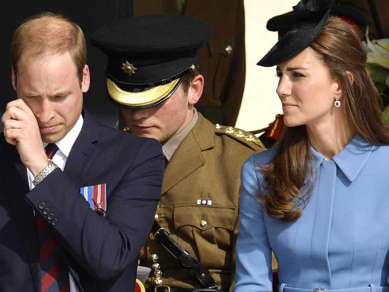 Britain's Prince William, The Duke of Cambridge and his wife, Catherine, The Duchess of Cambridge, attend a commemoration of the 70th anniversary of the D-Day landings at Gold Beach at Arromanches-les-Bains on the Normandy coast. World leaders and veterans gathered by the beaches of Normandy on Friday to mark the 70th anniversary of World War Two's D-Day landings. (Reuters)
