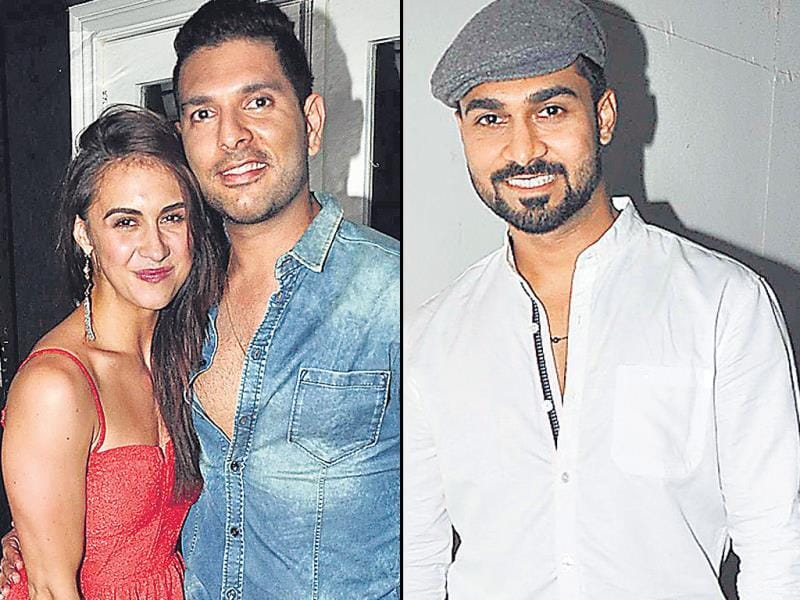 Cricketer Yuvraj Singh is seen here with birthday girl Lauren Gottlieb and also present was choreographer Salman Yusuff Khan.