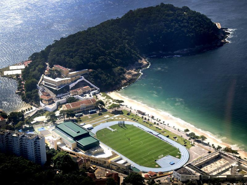 An aerial view of England's national soccer team training session in progress at the Urca military base near Copacabana beach in Rio de Janeiro, Brazil. (AP Photo)