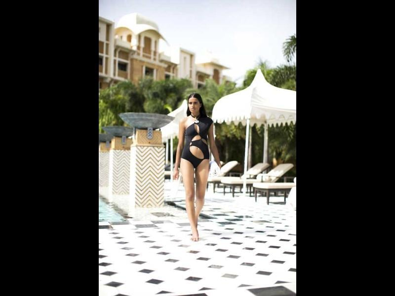 The swimwear returns this season, bolder, with lacerated signature maillots, bikinis & trikinis in SHIVAN & NARRESH's spring summer collection.