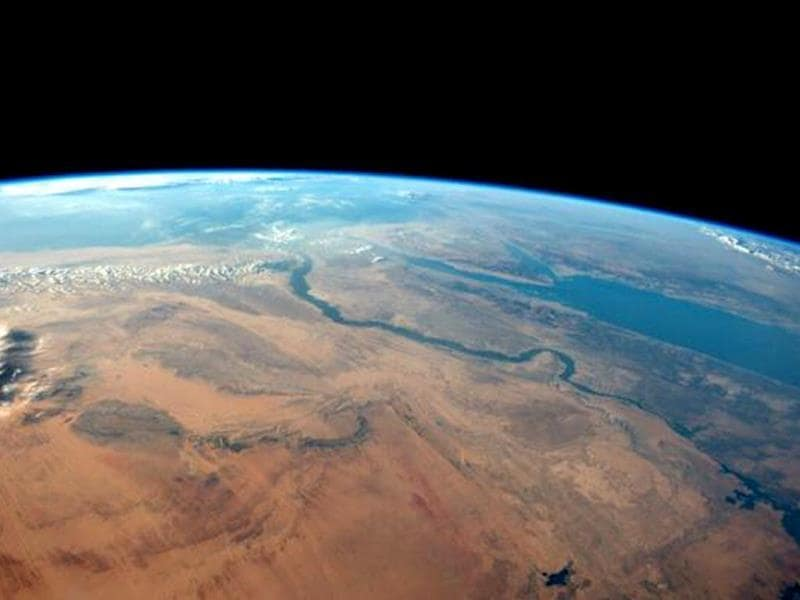 The Egyptian desert meets the Red Sea on a cloudless afternoon in this photo tweeted by first-time astronaut Reid Wiseman . Wiseman is one of six men living aboard the International Space Station. (Reuters Photo)