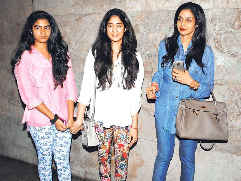 In what looks like a Mother's Day event Sridevi was accompanied by daughters Jhanvi and Khushi at a screening of Fugly in Santacruz. (Photo: Prodip Guha)