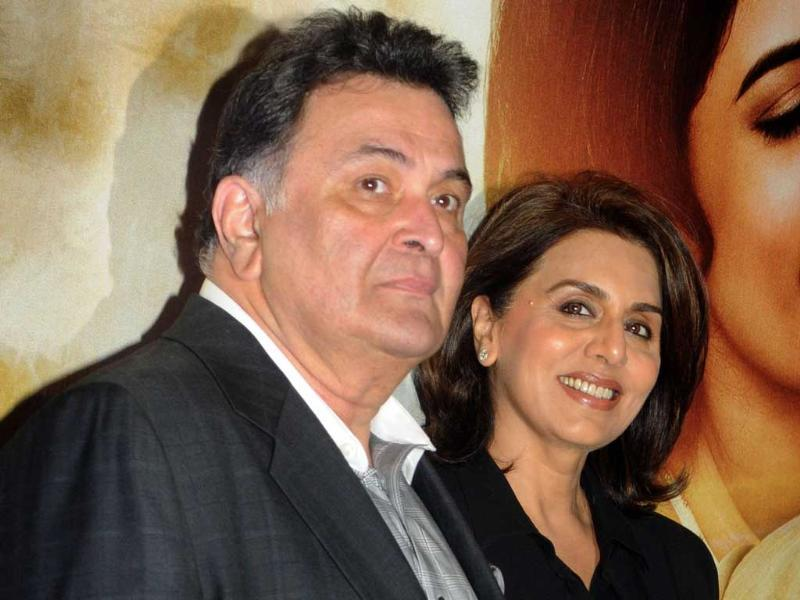 Rishi Kapoor with wife Neetu Singh attends the music launch of the upcoming Hindi film Lekar Hum Deewana Dil. (AFP Photo)