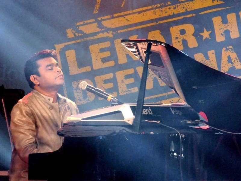 AR Rahman performs during the music launch of the upcoming Hindi film Lekar Hum Deewana Dil, which launches Armaan Jain. (AFP Photo)