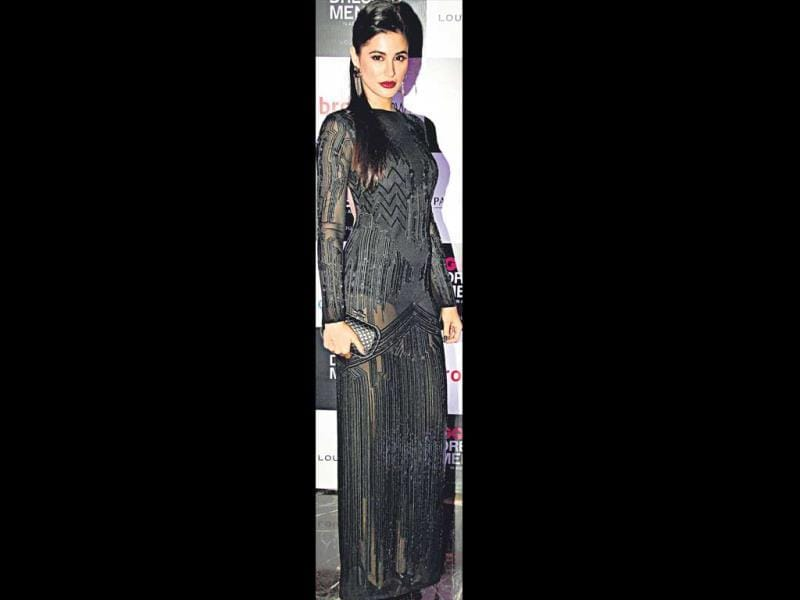Nargis Fakhri opted for sheer dresses that showed off her innerwear. HT Photo/Yogen Shah