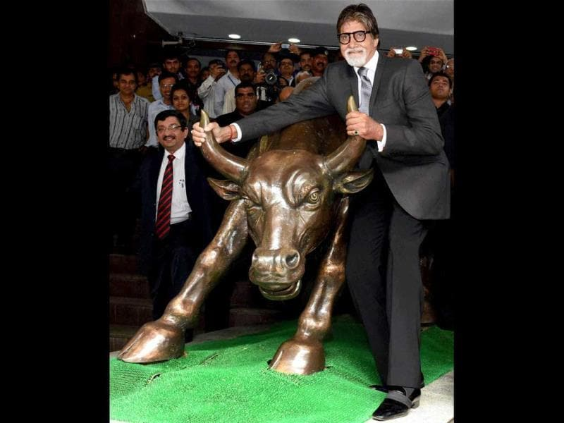 Amitabh Bachchan during the promotional event of his first fictional TV series Yudh at the BSE in Mumbai. (AFP PHOTO)