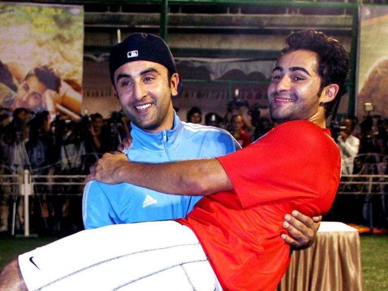 Ranbir Kapoor joined cousin Armaan Jain to promote his film Lekar Hum Deewana Dil in Mumbai on the football field. Take a look at the fun the duo had. (AFP Photo)