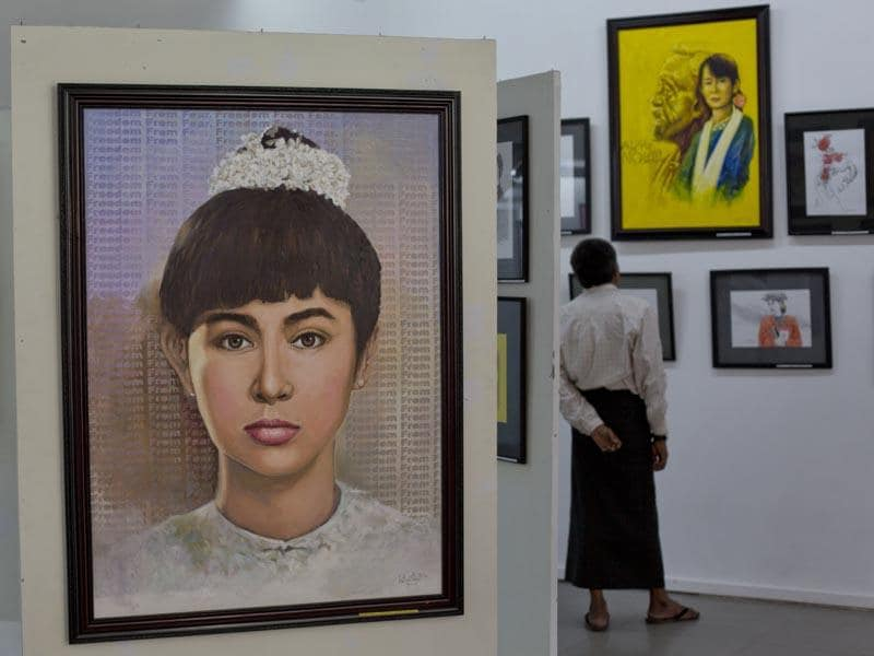 Myanmar, Yangon: June 18, 2014  Portraits of Myanmar's pro-democracy leader Aung San Suu Kyi are exhibited at an art gallery. A group of Myanmar artists showcase an exhibition of 69 portraits of Suu Kyi, depicting her life and different moods of the Nobel laureate to mark her 69th birthday. (AP Photo/Gemunu Amarasinghe)