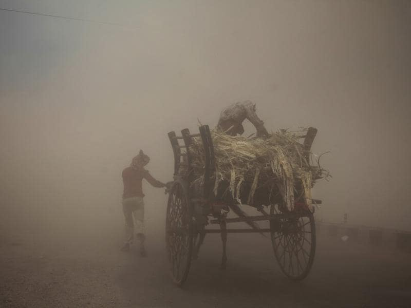 India, Jammu: June 16, 2014  Two men with a horse cart try to make their way during a powerful dust storm in Jammu, India. (AP/CHANNI ANAND)
