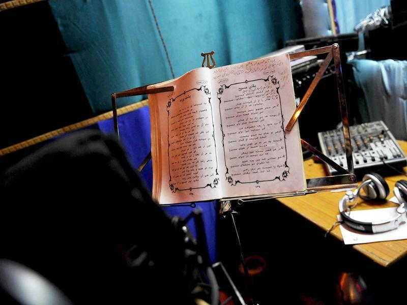 A Pharsi song book is seen at Hameed's Studio. (Saumya Khandelwal/ HT Photo)