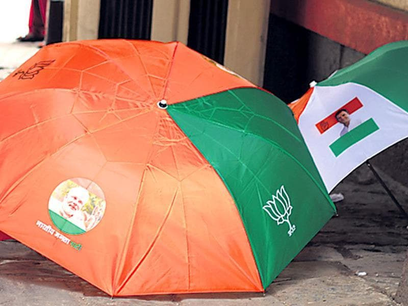 Umbrellas, like the ones seen in the above image, are specially designed for political organisations.