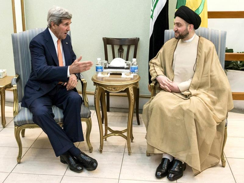 Ammar al-Hakim, head of the Islamic Supreme Council of Iraq (ISCI), meets with US secretary of state John Kerry in Baghdad. (Reuters photo)