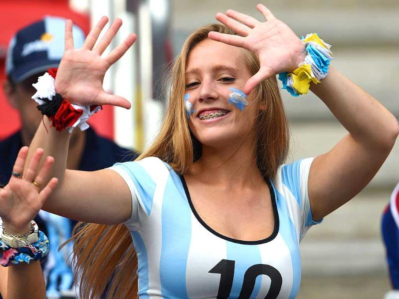 An Argentina fan poses before their Group F match against Nigeria at the Beira-Rio Stadium in Porto Alegre. (AFP Photo)
