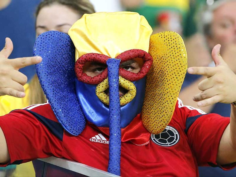 An Ecuador fan gestures at halftime of the Group E World Cup match against France at the Maracana stadium in Rio de Janeiro. (AP Photo)