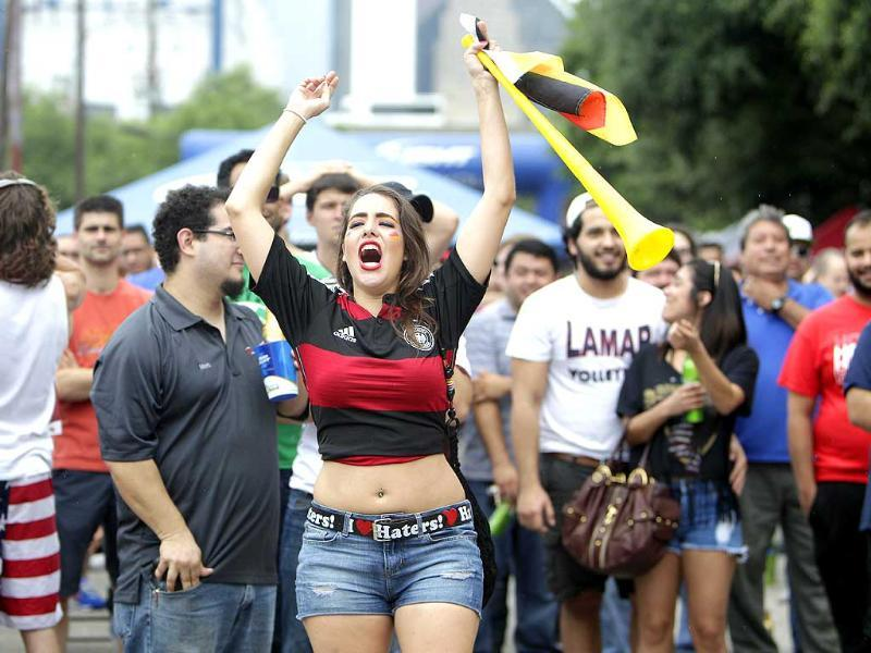 Lucy Wolfram celebrates Germany's goal over the United States during their World Cup match in Houston. (AP Photo)