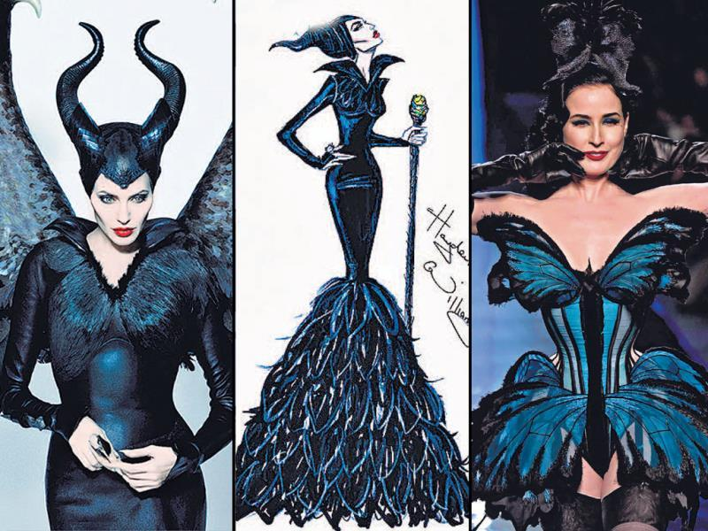 Maleficent: As Maleficent proves that good and evil exists in the same person, fashion also has opposites come together in pieces of wearable art. From Jean Paul Gaultier's burlesque translation of a fantastical butterfly adorned by Dita Von Teese, to Givenchy's interpretation of white fantasy, infuse drama in your wardrobe with risque, edgy fashion choices.Center: sketch by Hayden Williams; Right: Dita Von Tesse in Jean Paul Gautier