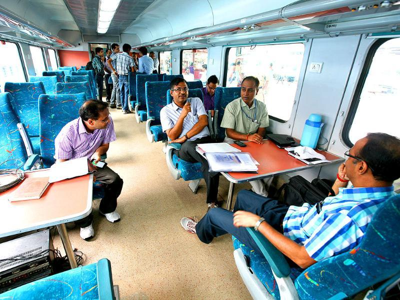 The technical team inside the train during the trial run of a 'semi-bullet train' between New Delhi and Agra (Arun Sharma/HT Photo)