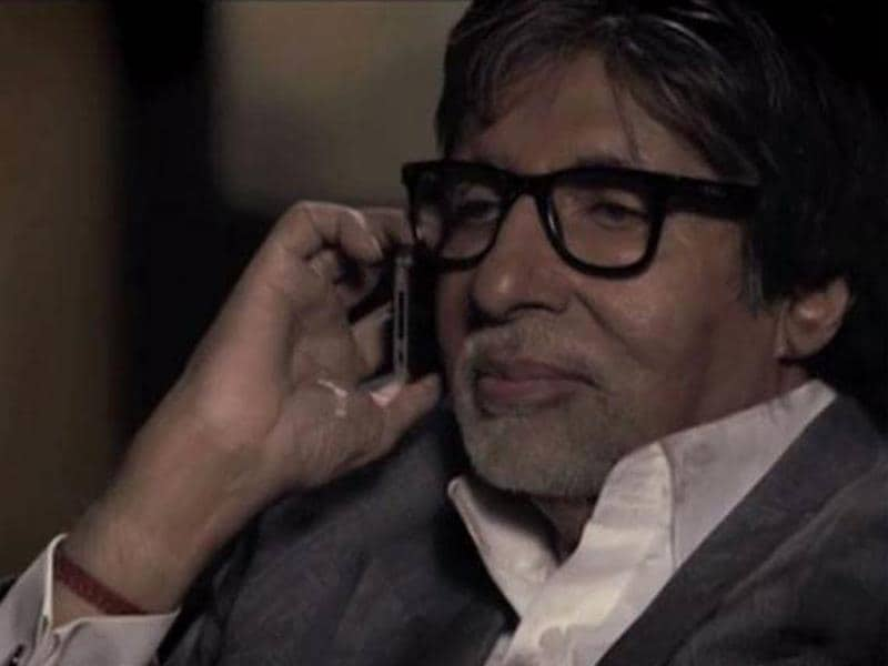 Amitabh Bachchan strikes an interesting pose in a still from Yudh.