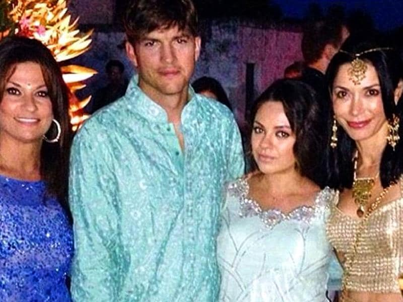 Ashton Kutcher and Mila Kunis seen in a desi avatar at a friend's wedding in Italy. (Photo Courtesy: Instagram/hollyguru)