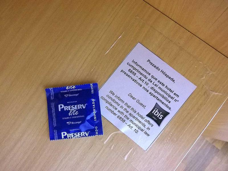A free condom is seen next to a note which details out that free condoms are provided to all guests at the hotel to comply to a municipal law, in Belo Horizonte. (Reuters)