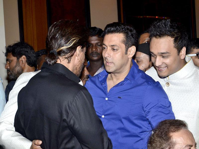 Salman Khan and Shah Rukh Khan made headlines last year when the two put aside their cold war of years and hugged each other at Baba Siddiqui's Iftaar party in Mumbai. (IANS)