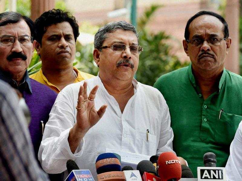 TMC MPs react on rail budget at Parliament House in New Delhi. (PTI photo)