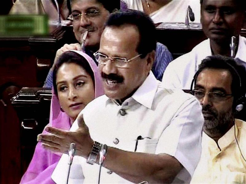 Union railways minister D V Sadananda Gowda presenting the Railway Budget 2014-15 in Parliament. (PTI photo)