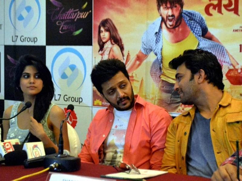 Riteish Deshmukh along with co-actors during a Lai Bhari press conference. (PTI)