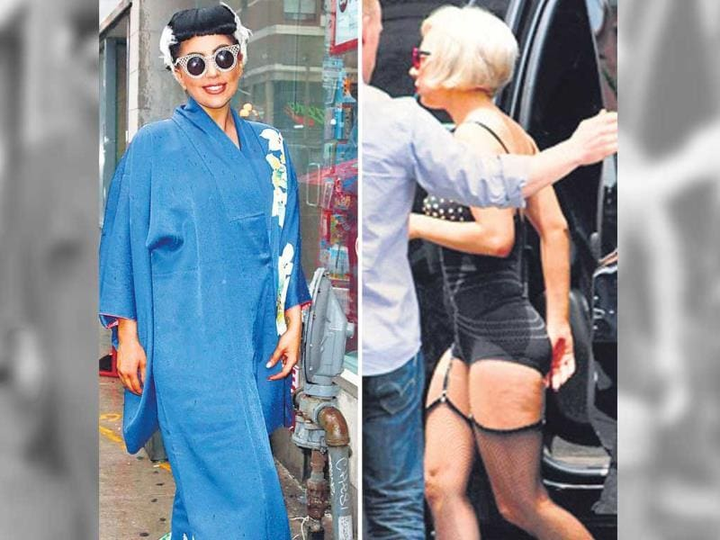 American singer Lady Gaga dressed up for her yoga class. The singer wore a ground-grazing blue kimono, white fur like hair extensions and the very 60's round sunglasses. And this is not the first time she made us wonder how is she going to exercise in her bizzare attire. We can't forget her fishnet tights with suspenders, a rubber body suit, and stripper heels she wore for an early morning gym session some two years ago.