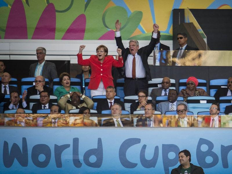 German Chancellor Angela Merkel and German Prime Minsiter Joachim Gauck react during the FIFA World Cup final between Germany and Argentina at the Maracana Stadium in Rio de Janeiro on July 13, 2014. Germany won 1-0. (AFP/Odd Andersen)