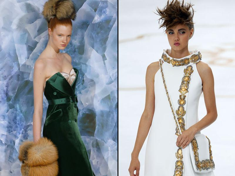 Alexis Mabille: Mabille sent out stunning fox fur muffs and headpieces | Chanel: Accessories at Chanel matched the glittering gold embellishments of the couture dresses