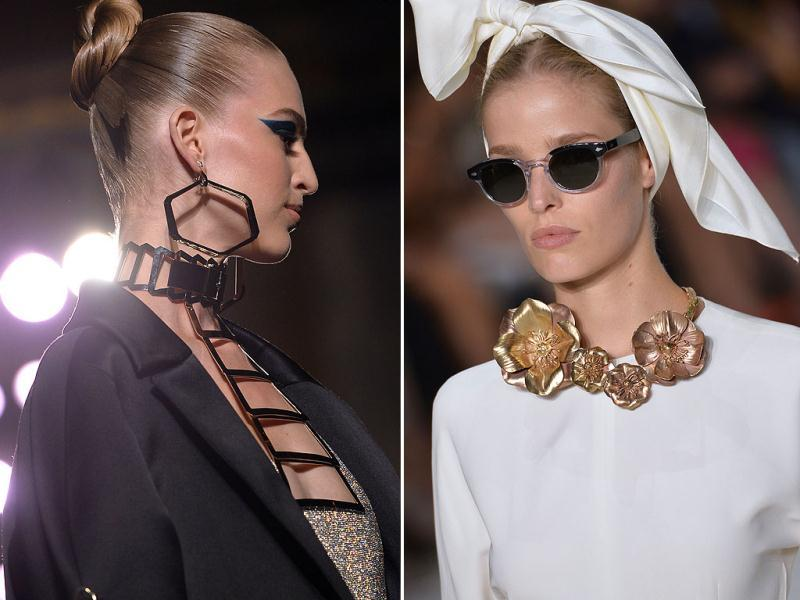 As the Fall/Winter 2014/15 haute couture week wraps up in Paris, we take a look at the best accessories fresh from the runways in the French capital. (All photos: AFP)Versace: Donatella Versace matched earrings to the metallic elements in the gowns | Giambattista Valli: We loved Valli's retro hair scarf wraps and 1950s film star sunglasses, as well as the metallic floral accessories