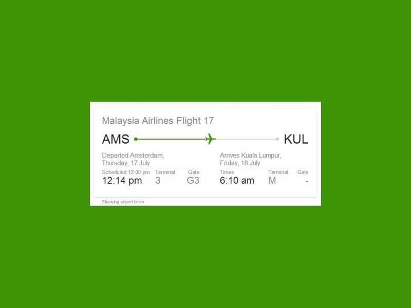 A live flight tracker shows the path of Malaysia Airlines MH17 jet from Amsterdam to Kuala Kumpur. (Photo credit: Google.com)