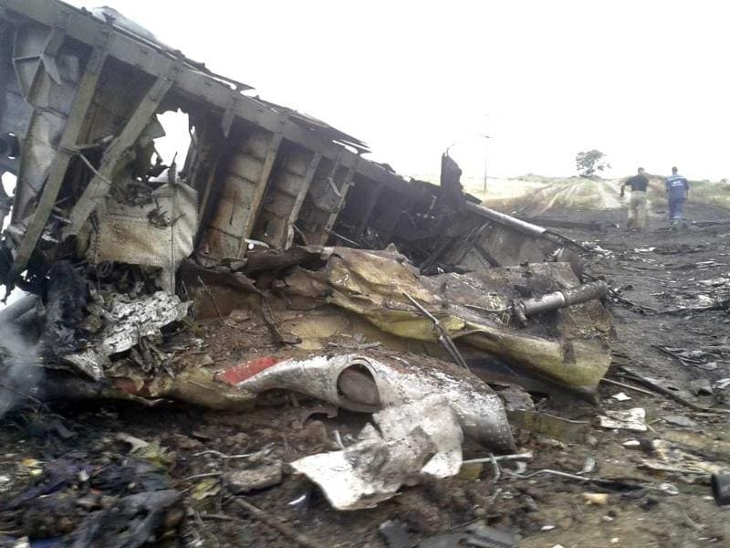A photo shows wreckage of Malaysia Airlines flight MH17 that crashed over rebel-held eastern Ukraine.