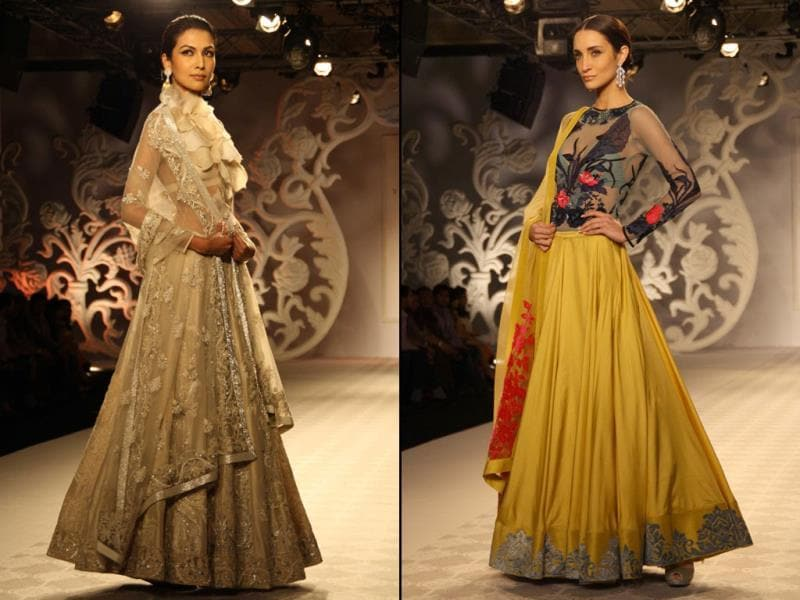Models walks on the ramp for designer Varun Bahl`s show during India Couture Week 2014, in New Delhi. (IANS)