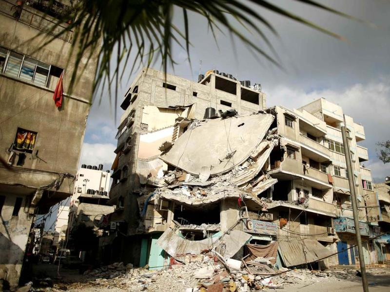 A destroyed house, which police said was targeted on Friday in an Israeli air strike (REUTERS Photo)