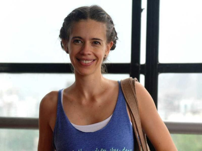 Kalki Koechlin poses for a photograph during a rehearsal for their forthcoming play Trivial Disasters directed by Atul Kumar in Mumbai on July 18, 2014. (AFP Photo)