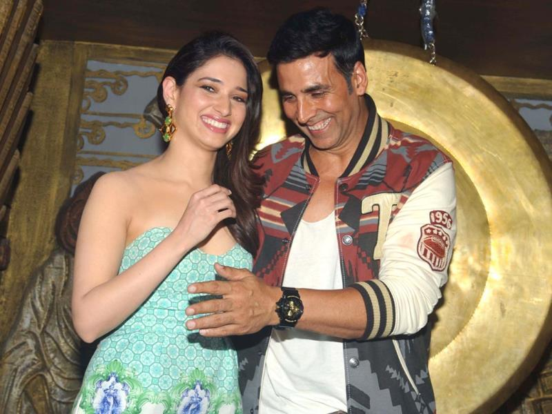 Tamannaah and Akshay Kumar attend a promotional event for Entertainment during the Entertainment Ke Liye Kuch Bhi Karega sets. (AFP Photo)