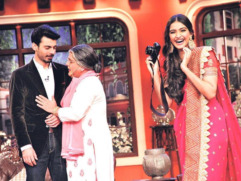 Fawad Khan shares a moment with Ali Asgar on the sets of a comedy show, while Sonam Kapoor can't stop laughing at their shenanigans. (Photo: Prodip Guha)