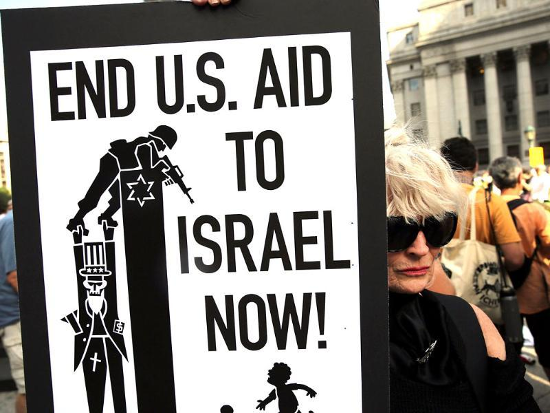 Demonstrators in lower Manhattan protest against Israel's recent military campaign in Gaza in New York City. (AFP photo)
